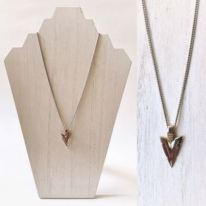 Silver Toned Southwest Styled Arrowhead Necklace